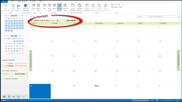Outlook, Kona, Single Calendar