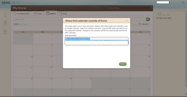 Deltek Kona, Calendar Integration