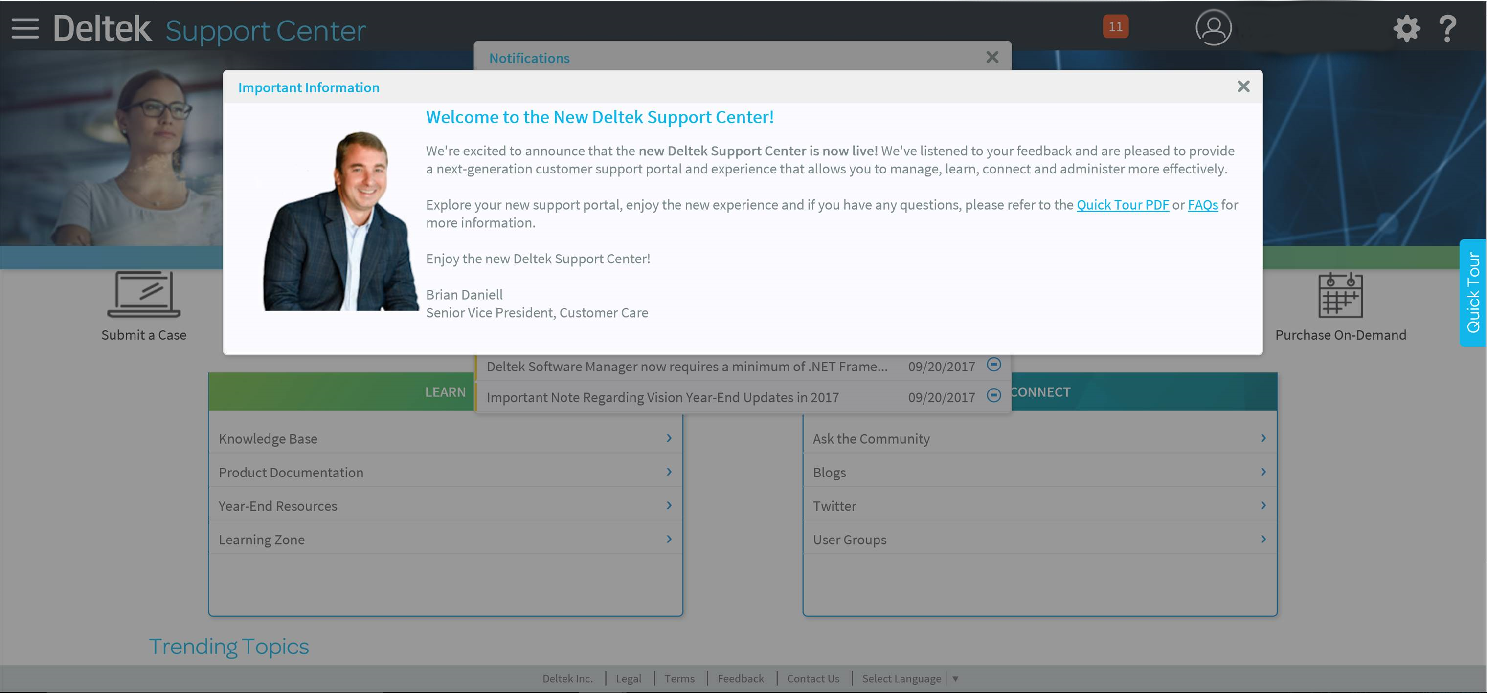 Deltek Support Center Welcome Screen