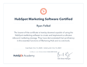 Ryan Felkel's HubSpot Marketing Software Certification